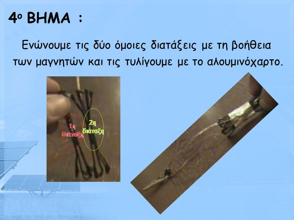 Φτιάχνουμε άλλη μία τέτοια διάταξη και σε αυτήν τοποθετούμε πάνω και κάτω τα 2 μαγνητάκια. 3 ο BHMA :