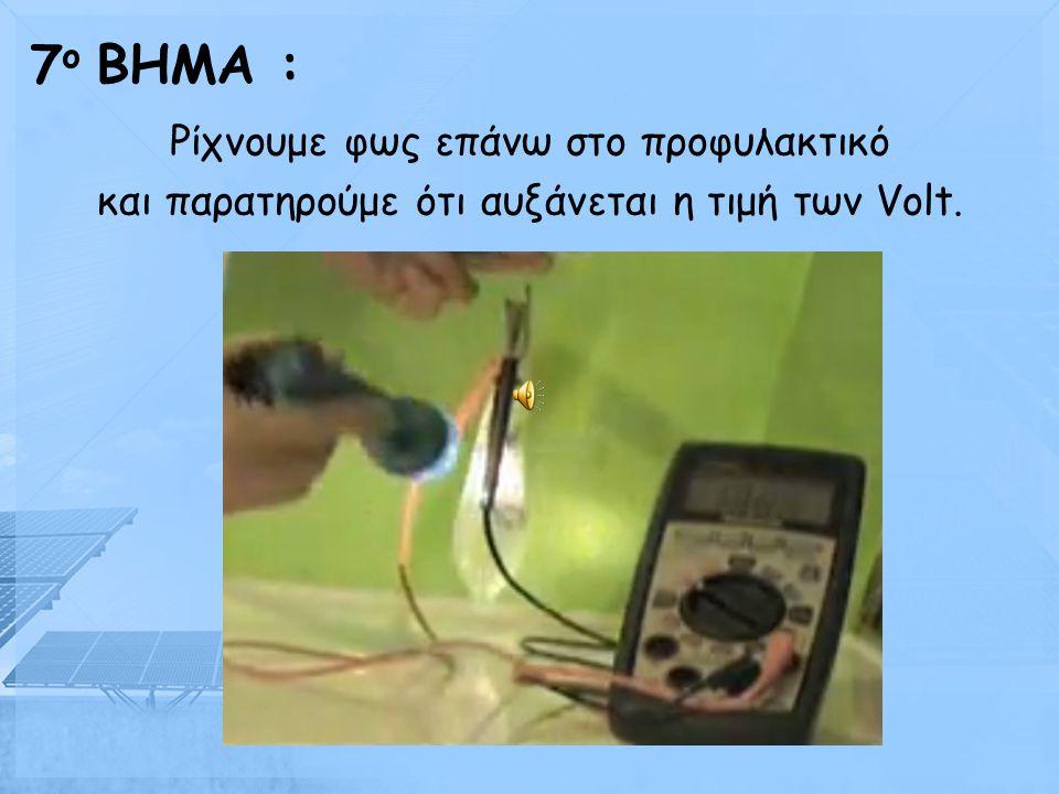 Αφού δέσουμε το προφυλακτικό, αφήνοντας τις 2 άκρες των καλωδίων έξω από αυτό, συνδέουμε ένα βολτόμετρο με τα καλώδια. 6 ο BHMA :