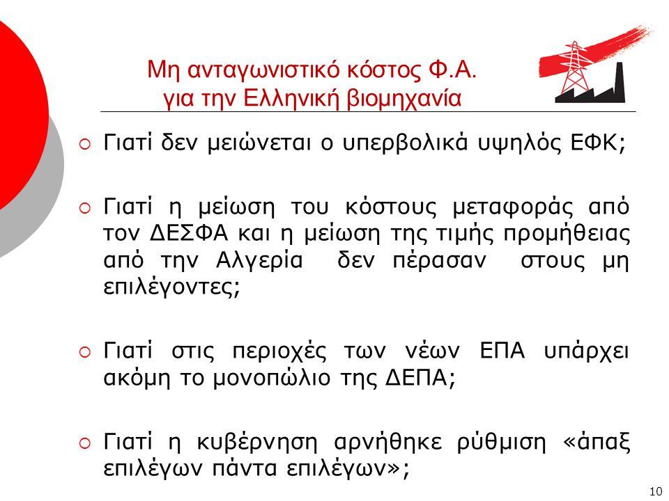 10 Μη ανταγωνιστικό κόστος Φ.Α. για την Ελληνική βιομηχανία  Γιατί δεν μειώνεται ο υπερβολικά υψηλός ΕΦΚ;  Γιατί η μείωση του κόστους μεταφοράς από