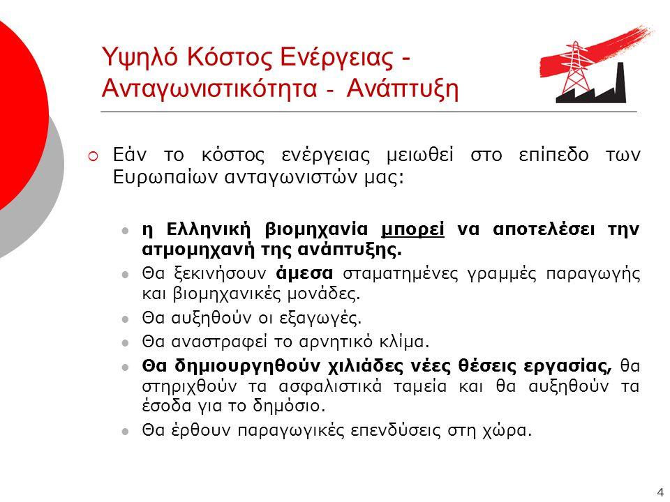 4 Υψηλό Κόστος Ενέργειας - Ανταγωνιστικότητα - Ανάπτυξη  Εάν το κόστος ενέργειας μειωθεί στο επίπεδο των Ευρωπαίων ανταγωνιστών μας:  η Ελληνική βιομηχανία μπορεί να αποτελέσει την ατμομηχανή της ανάπτυξης.