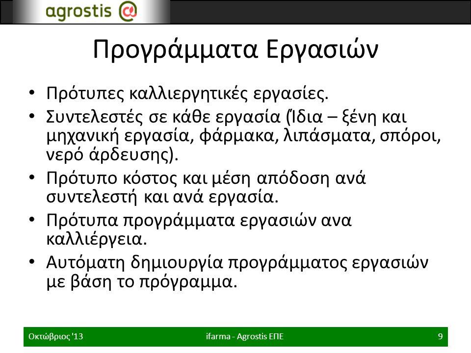 Πρότυπα Προγράμματα εργασιών ifarma - Agrostis ΕΠΕΟκτώβριος 1310