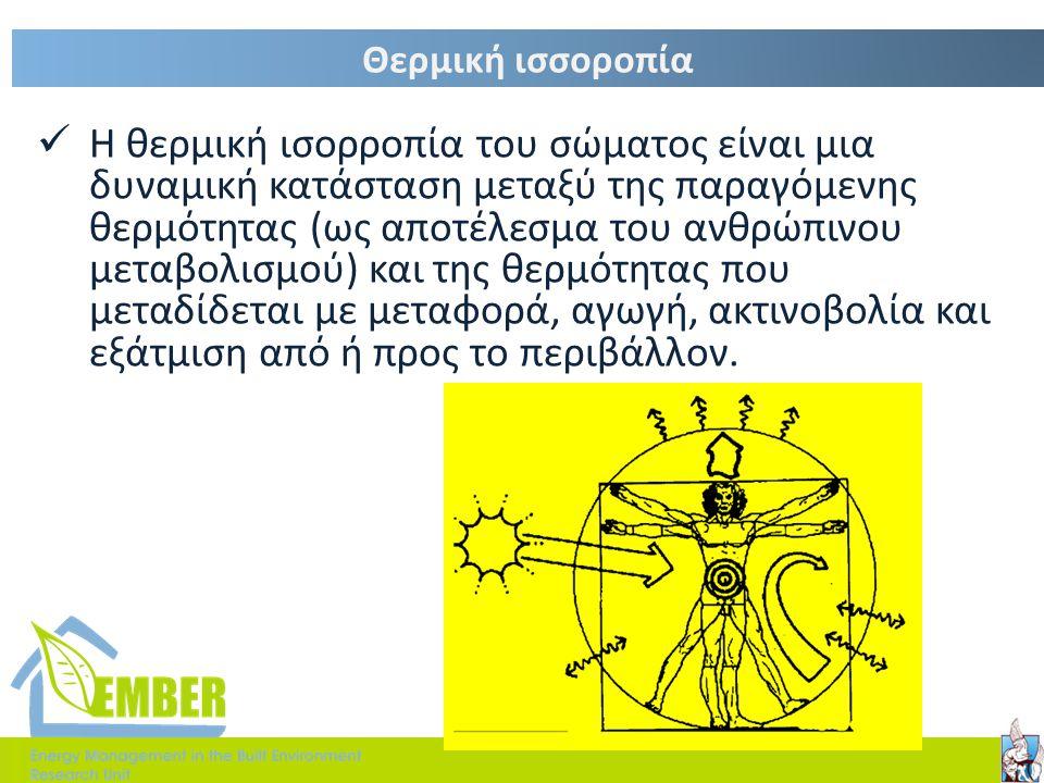 Παράμετροι που επηρεάζουν τη θερμική άνεση. 1. Φυσικές παράμετροι o Θερμοκρασία του αέρα [ 0 C] o Μέση θερμοκρασία ακτινοβολίας των εσωτερικών επιφανε