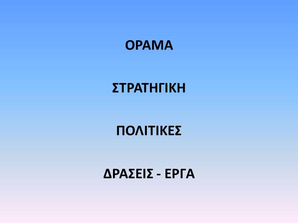 ΟΡΑΜΑ ΣΤΡΑΤΗΓΙΚΗ ΠΟΛΙΤΙΚΕΣ ΔΡΑΣΕΙΣ - ΕΡΓΑ