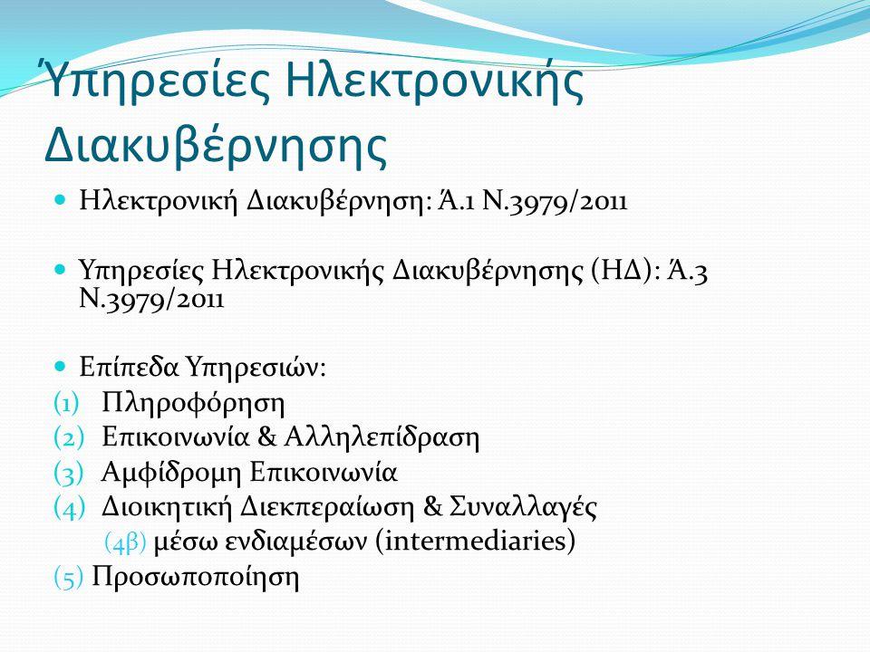 Ύπηρεσίες Ηλεκτρονικής Διακυβέρνησης  Ηλεκτρονική Διακυβέρνηση: Ά.1 Ν.3979/2011  Υπηρεσίες Ηλεκτρονικής Διακυβέρνησης (ΗΔ): Ά.3 Ν.3979/2011  Επίπεδα Υπηρεσιών: (1) Πληροφόρηση (2) Επικοινωνία & Αλληλεπίδραση (3) Αμφίδρομη Επικοινωνία (4) Διοικητική Διεκπεραίωση & Συναλλαγές (4β) μέσω ενδιαμέσων (intermediaries) (5) Προσωποποίηση