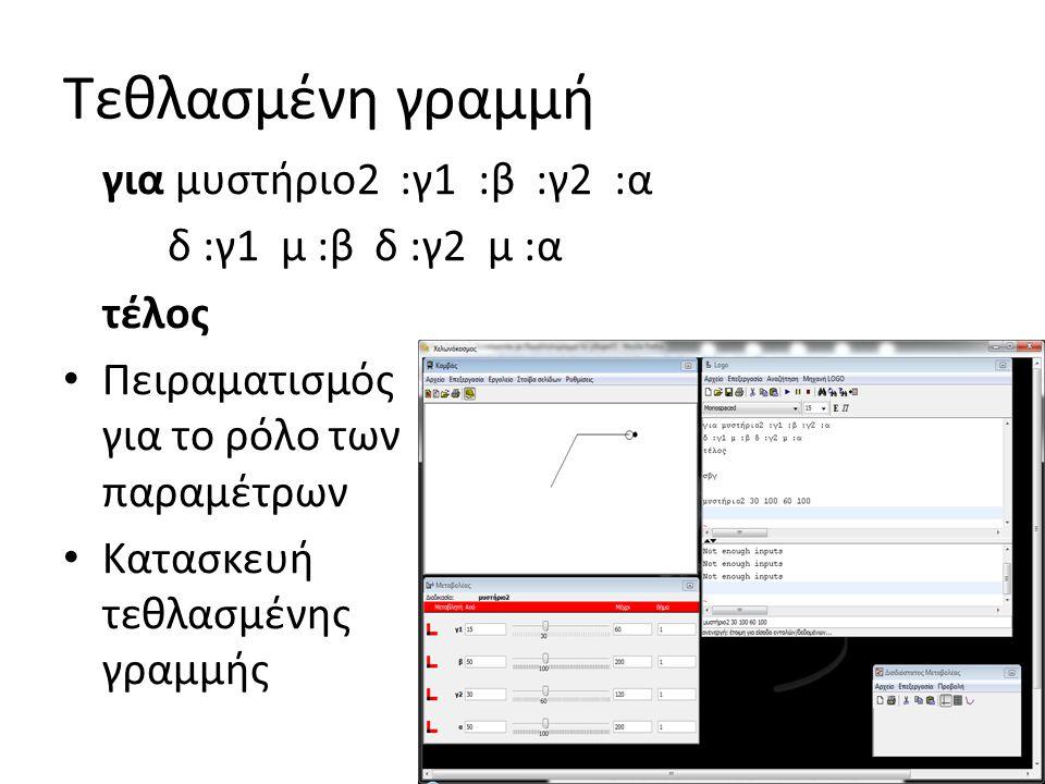 Τεθλασμένη γραμμή για μυστήριο2 :γ1 :β :γ2 :α δ :γ1 μ :β δ :γ2 μ :α τέλος • Πειραματισμός για το ρόλο των παραμέτρων • Κατασκευή τεθλασμένης γραμμής