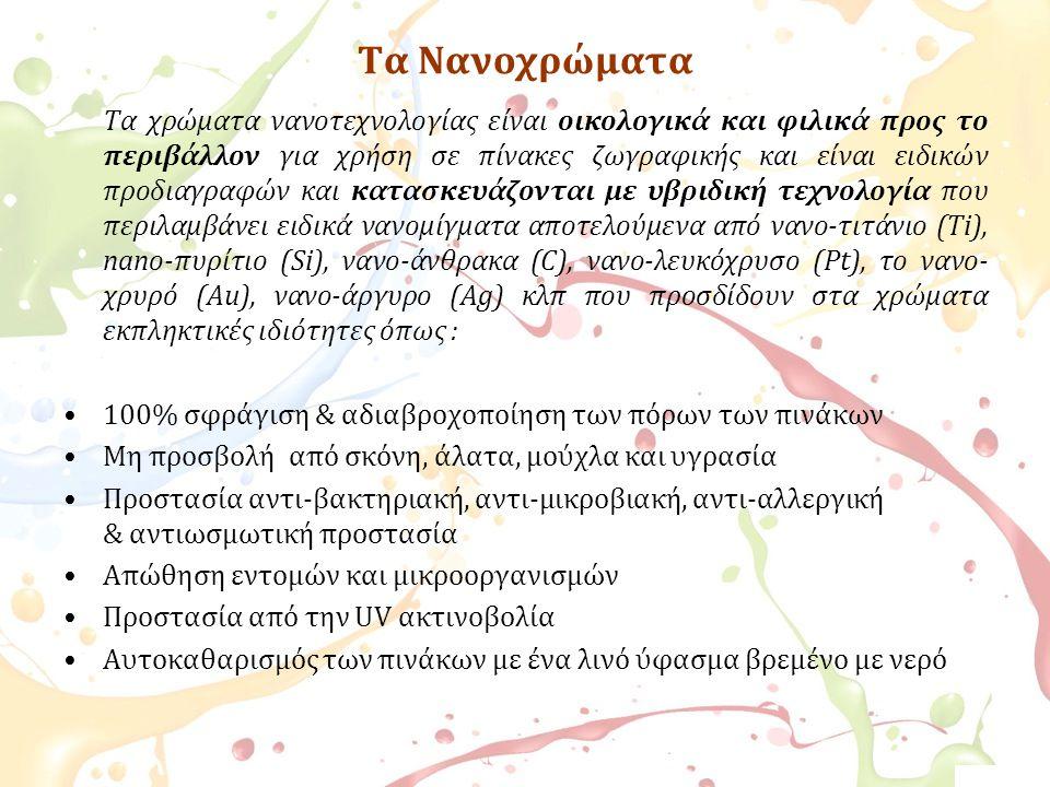 Τα Νανοχρώματα Τα χρώματα νανοτεχνολογίας είναι οικολογικά και φιλικά προς το περιβάλλον για χρήση σε πίνακες ζωγραφικής και είναι ειδικών προδιαγραφώ