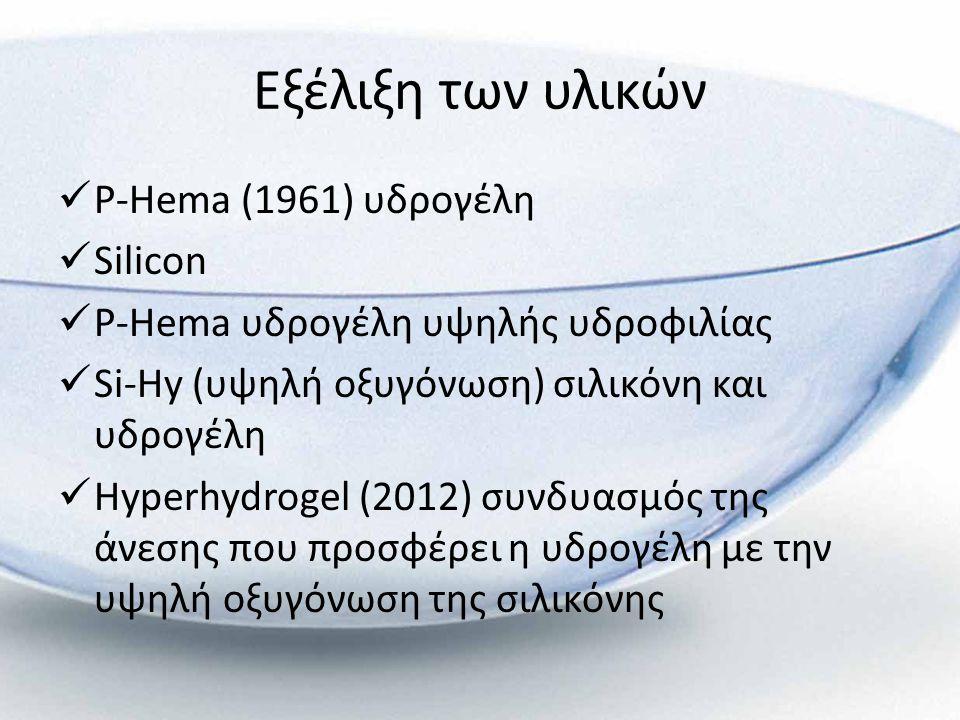 Εξέλιξη των υλικών  P-Hema (1961) υδρογέλη  Silicon  P-Hema υδρογέλη υψηλής υδροφιλίας  Si-Hy (υψηλή οξυγόνωση) σιλικόνη και υδρογέλη  Hyperhydro