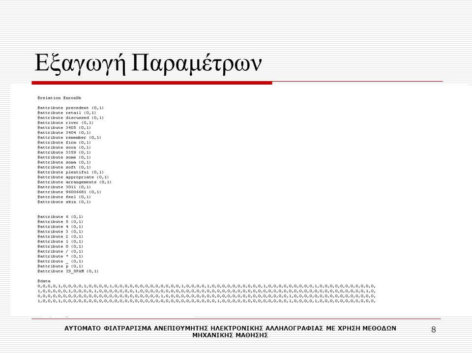 Πειράματα Ling-Spam MultiLayerPerceptron Παράμετροι για το WEKA : MultilayerPerceptron -L 0.3 -M 0.2 -N 300 -V 0 -S 0 -E 20 -H a Vector F: 750 Type: BooleanVector F: 750 Type: Count LegitimateSpamLegitimateSpam 24039239022 1346876405 Confusion Matrixes LegitimateType: BooleanType: Count Recall99,63%99,09% Precision99,46%96,92% Fallout2,70%15,80% Accuracy99,24%96,61% Error0,76%3,39% SpamType: BooleanType: Count Recall97,30%84,20% Precision98,11%94,85% Fallout0,37%0,91% Accuracy99,24%96,61% Error0,76%3,39% Average Precision98,79%95,88% Accuracy99,24%96,61% Error0,76%3,39% Μετρικές ΑΥΤΟΜΑΤO ΦΙΛΤΡΑΡΙΣΜΑ ΑΝΕΠΙΘΥΜΗΤΗΣ ΗΛΕΚΤΡΟΝΙΚΗΣ ΑΛΛΗΛΟΓΡΑΦΙΑΣ ΜΕ ΧΡΗΣΗ ΜΕΘΟΔΩΝ ΜΗΧΑΝΙΚΗΣ MAΘΗΣΗΣ 9 Enron-Spam Spam Assasin