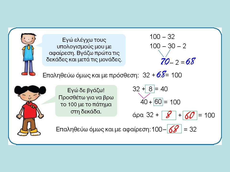 Ελέγξτε το αποτέλεσμα που βρήκατε. Για τον έλεγχο, αν θέλετε, μπορείτε να χρησιμοποιήσετε την αριθμογραμμή, ή κάντε πράξεις.