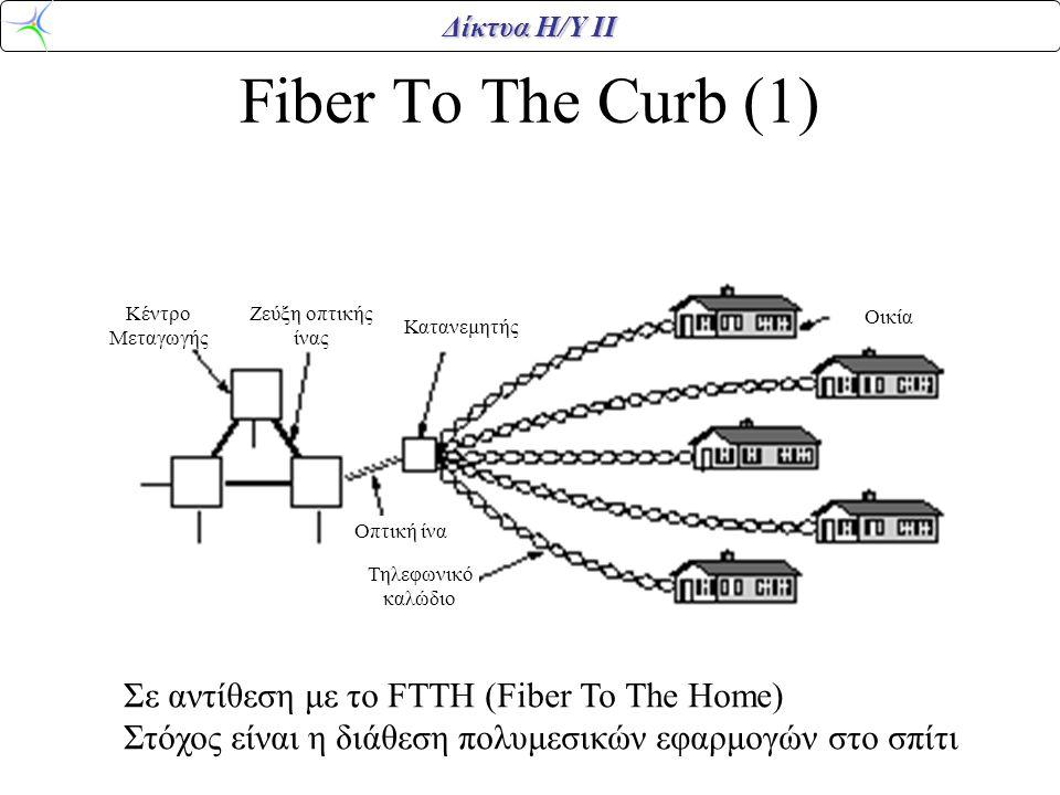 Δίκτυα Η/Υ ΙΙ Fiber To The Curb (1) Κέντρο Μεταγωγής Ζεύξη οπτικής ίνας Οπτική ίνα Κατανεμητής Τηλεφωνικό καλώδιο Οικία Σε αντίθεση με το FTTH (Fiber