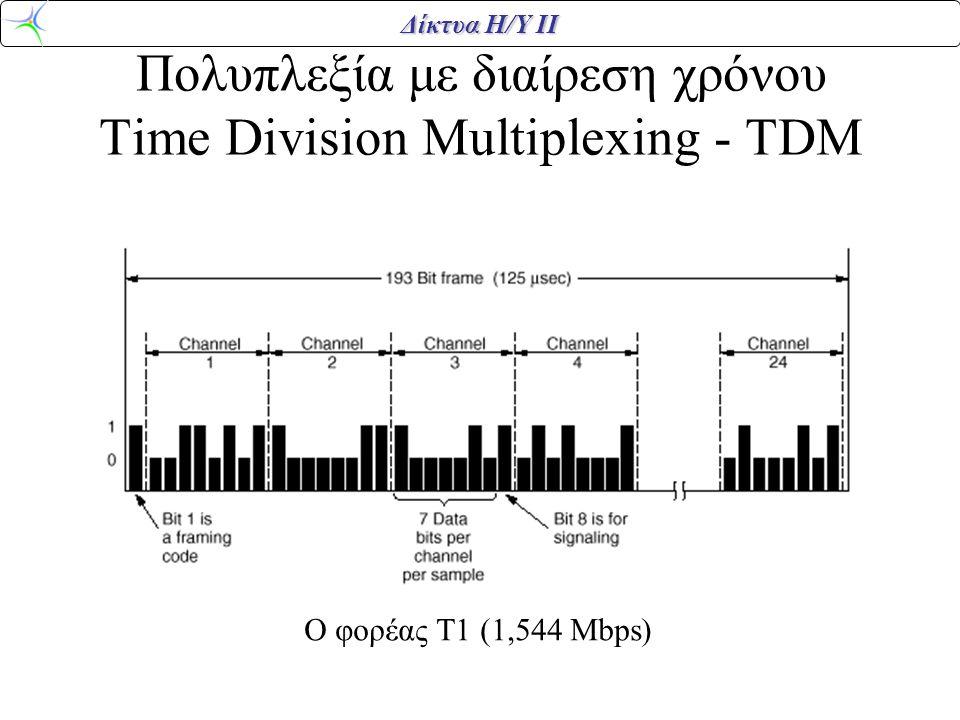 Δίκτυα Η/Υ ΙΙ Πολυπλεξία με διαίρεση χρόνου Time Division Multiplexing - TDM Ο φορέας Τ1 (1,544 Mbps)