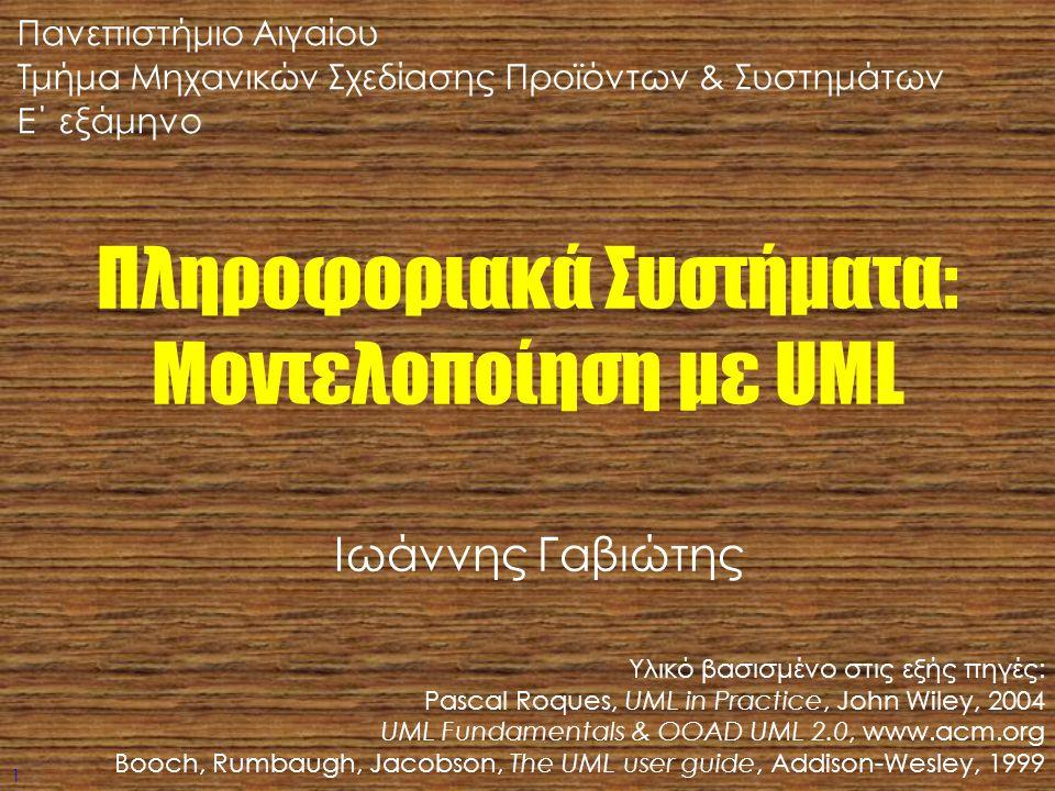 1 Πληροφοριακά Συστήματα: Μοντελοποίηση με UML Υλικό βασισμένο στις εξής πηγές: Pascal Roques, UML in Practice, John Wiley, 2004 UML Fundamentals & OO
