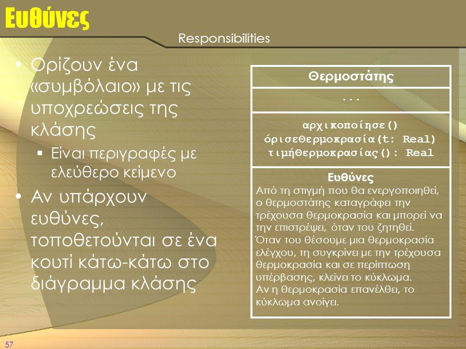 57 Ευθύνες •Ορίζουν ένα «συμβόλαιο» με τις υποχρεώσεις της κλάσης  Είναι περιγραφές με ελεύθερο κείμενο •Αν υπάρχουν ευθύνες, τοποθετούνται σε ένα κο
