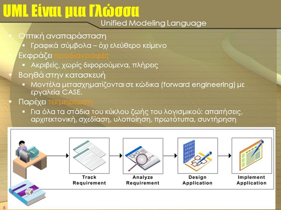 6 UML Είναι μια Γλώσσα •Οπτική αναπαράσταση  Γραφικά σύμβολα – όχι ελεύθερο κείμενο •Εκφράζει προδιαγραφές  Ακριβείς, χωρίς διφορούμενα, πλήρεις •Βο