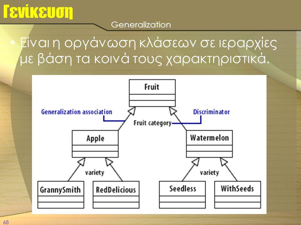68 Γενίκευση •Είναι η οργάνωση κλάσεων σε ιεραρχίες με βάση τα κοινά τους χαρακτηριστικά. Generalization