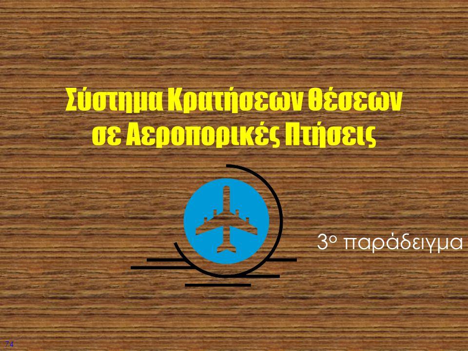 74 Σύστημα Κρατήσεων Θέσεων σε Αεροπορικές Πτήσεις 3 ο παράδειγμα