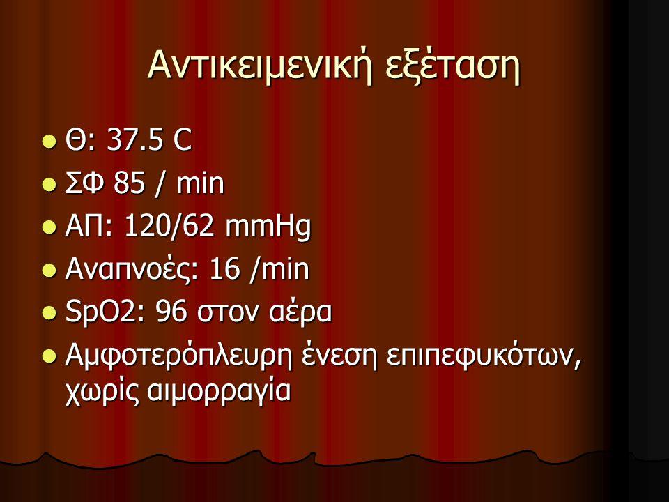 Αντικειμενική εξέταση  Θ: 37.5 C  ΣΦ 85 / min  ΑΠ: 120/62 mmHg  Αναπνοές: 16 /min  SpO2: 96 στον αέρα  Αμφοτερόπλευρη ένεση επιπεφυκότων, χωρίς