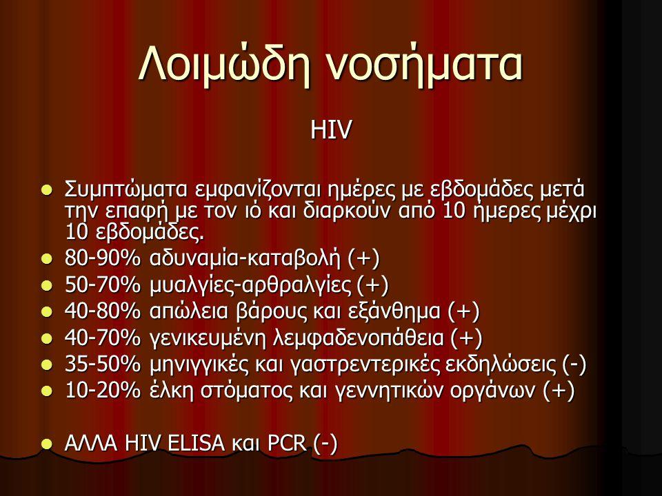 Λοιμώδη νοσήματα HIV  Συμπτώματα εμφανίζονται ημέρες με εβδομάδες μετά την επαφή με τον ιό και διαρκούν από 10 ήμερες μέχρι 10 εβδομάδες.  80-90% αδ