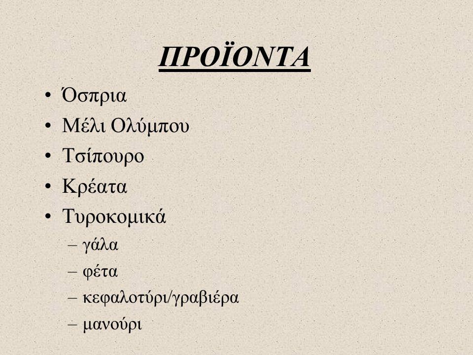 ΠΡΟΪΟΝΤΑ •Όσπρια •Μέλι Ολύμπου •Τσίπουρο •Κρέατα •Τυροκομικά –γάλα –φέτα –κεφαλοτύρι/γραβιέρα –μανούρι