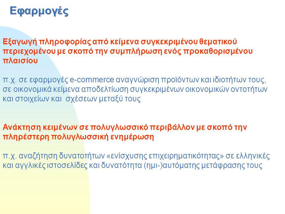 Εφαρμογές Εξαγωγή πληροφορίας από κείμενα συγκεκριμένου θεματικού περιεχομένου με σκοπό την συμπλήρωση ενός προκαθορισμένου πλαισίου π.χ. σε εφαρμογές