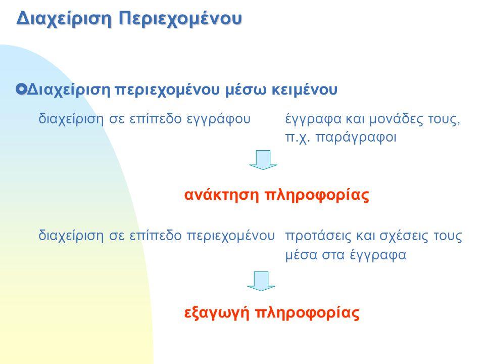 Διαχείριση Περιεχομένου   Διαχείριση περιεχομένου μέσω κειμένου διαχείριση σε επίπεδο εγγράφου έγγραφα και μονάδες τους, π.χ. παράγραφοι ανάκτηση πλ