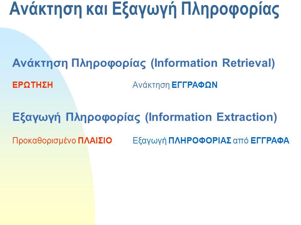 Ανάκτηση και Εξαγωγή Πληροφορίας Ανάκτηση Πληροφορίας (Information Retrieval) ΕΡΩΤΗΣΗΑνάκτηση ΕΓΓΡΑΦΩΝ Εξαγωγή Πληροφορίας (Information Extraction) Πρ