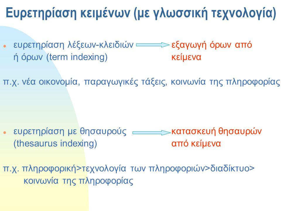 Ευρετηρίαση κειμένων (με γλωσσική τεχνολογία)  ευρετηρίαση λέξεων-κλειδιών εξαγωγή όρων από ή όρων (term indexing)κείμενα π.χ. νέα οικονομία, παραγωγ