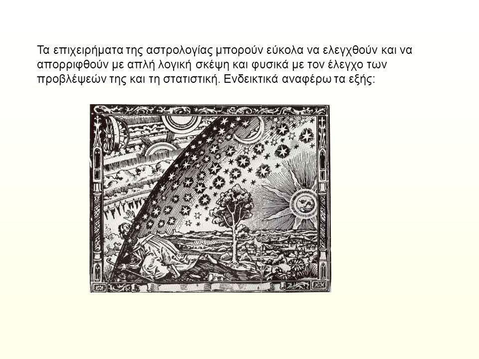 Τα επιχειρήματα της αστρολογίας μπορούν εύκολα να ελεγχθούν και να απορριφθούν με απλή λογική σκέψη και φυσικά με τον έλεγχο των προβλέψεών της και τη