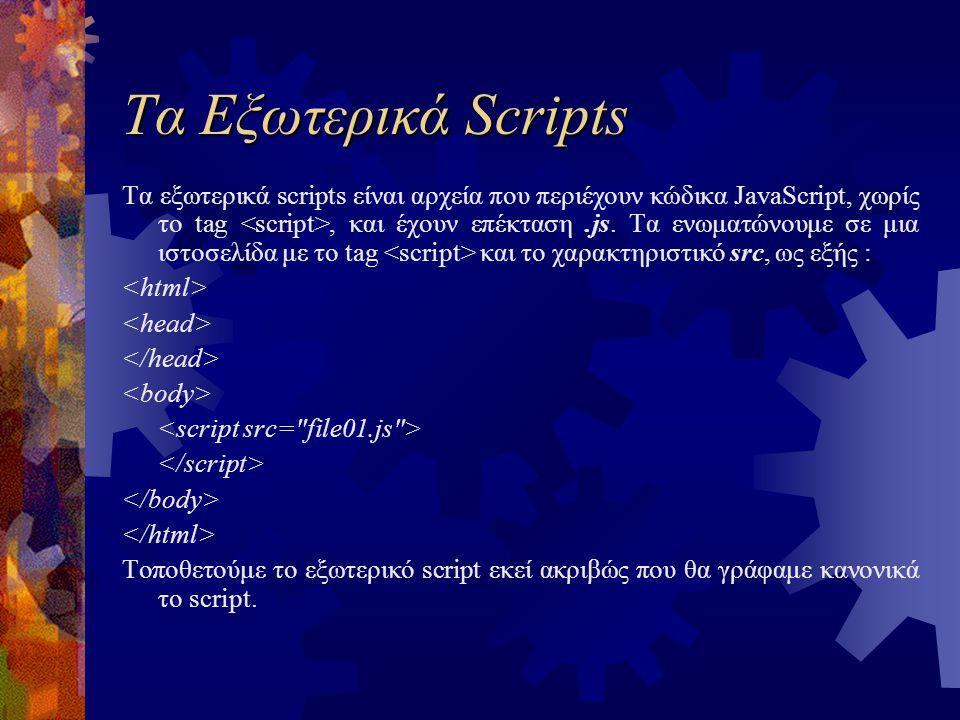 Τα Εξωτερικά Scripts Τα εξωτερικά scripts είναι αρχεία που περιέχουν κώδικα JavaScript, χωρίς το tag, και έχουν επέκταση.js. Τα ενωματώνουμε σε μια ισ