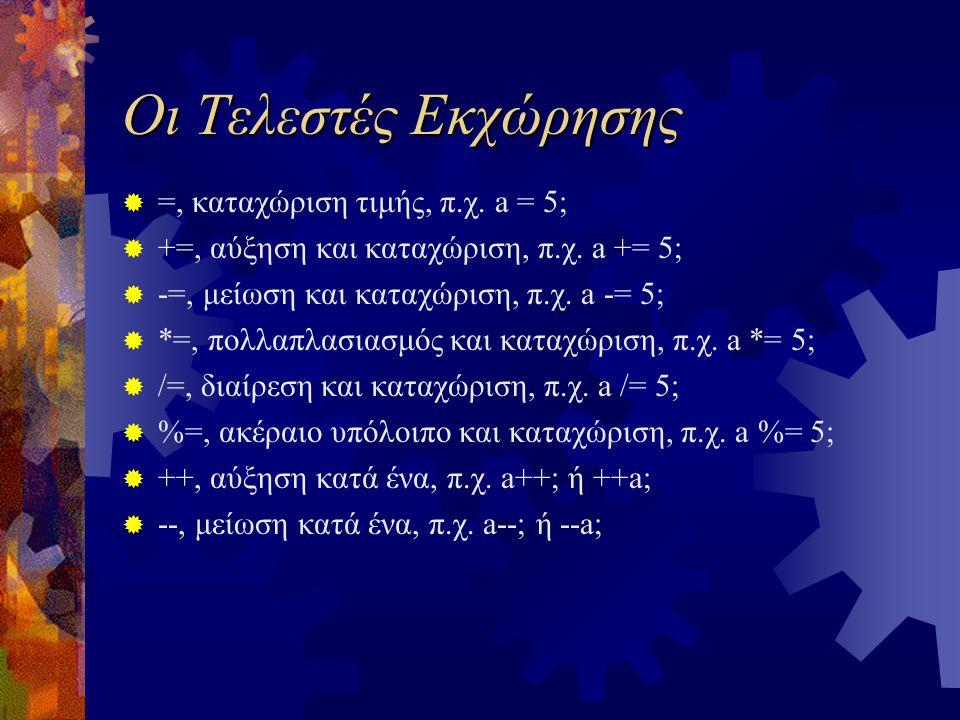 Οι Τελεστές Εκχώρησης  =, καταχώριση τιμής, π.χ. a = 5;  +=, αύξηση και καταχώριση, π.χ. a += 5;  -=, μείωση και καταχώριση, π.χ. a -= 5;  *=, πολ