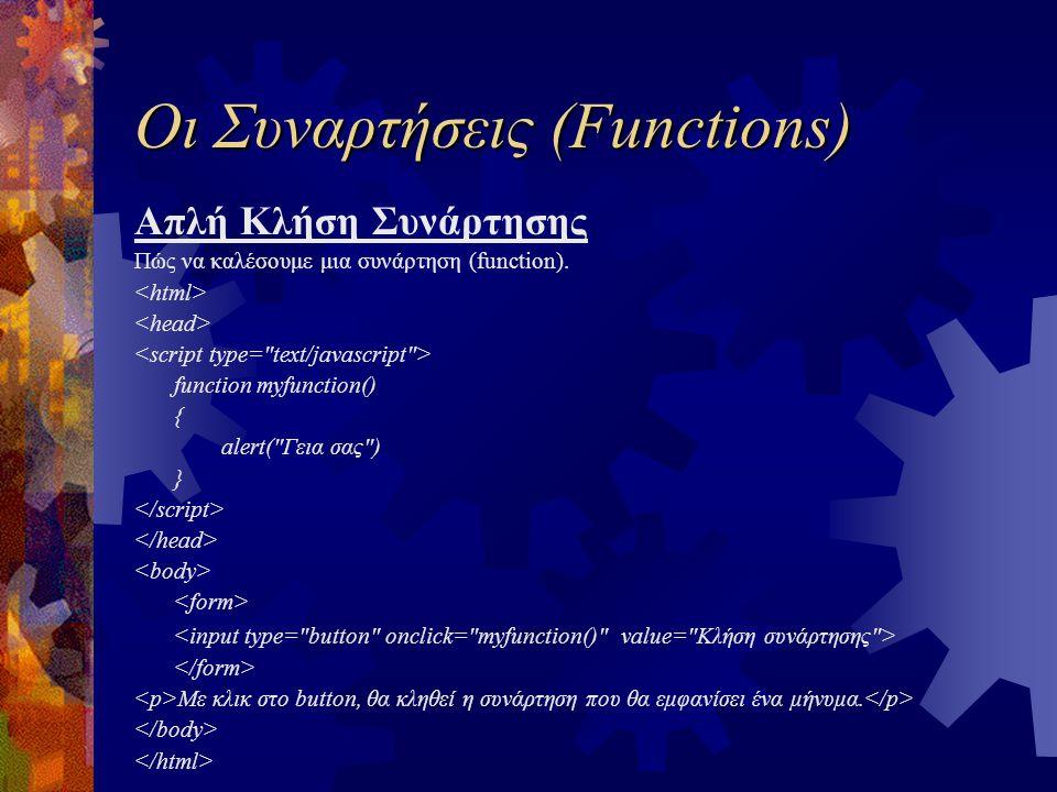 Οι Συναρτήσεις (Functions) Απλή Κλήση Συνάρτησης Πώς να καλέσουμε μια συνάρτηση (function). function myfunction() { alert(