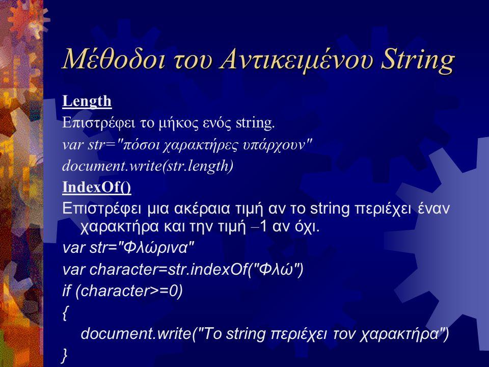Μέθοδοι του Αντικειμένου String Length Επιστρέφει το μήκος ενός string. var str=