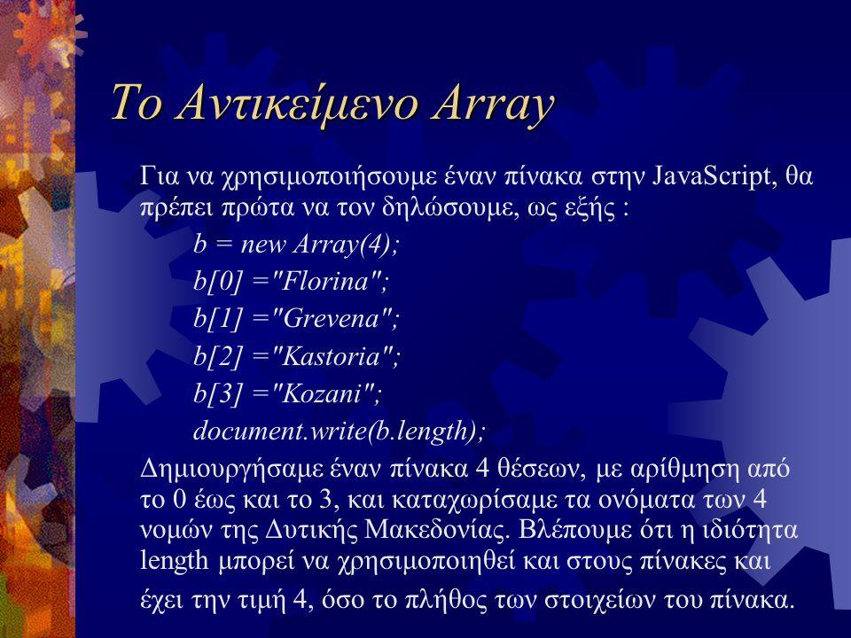 Το Αντικείμενο Array Για να χρησιμοποιήσουμε έναν πίνακα στην JavaScript, θα πρέπει πρώτα να τον δηλώσουμε, ως εξής : b = new Array(4); b[0] = Florina ; b[1] = Grevena ; b[2] = Kastoria ; b[3] = Kozani ; document.write(b.length); Δημιουργήσαμε έναν πίνακα 4 θέσεων, με αρίθμηση από το 0 έως και το 3, και καταχωρίσαμε τα ονόματα των 4 νομών της Δυτικής Μακεδονίας.