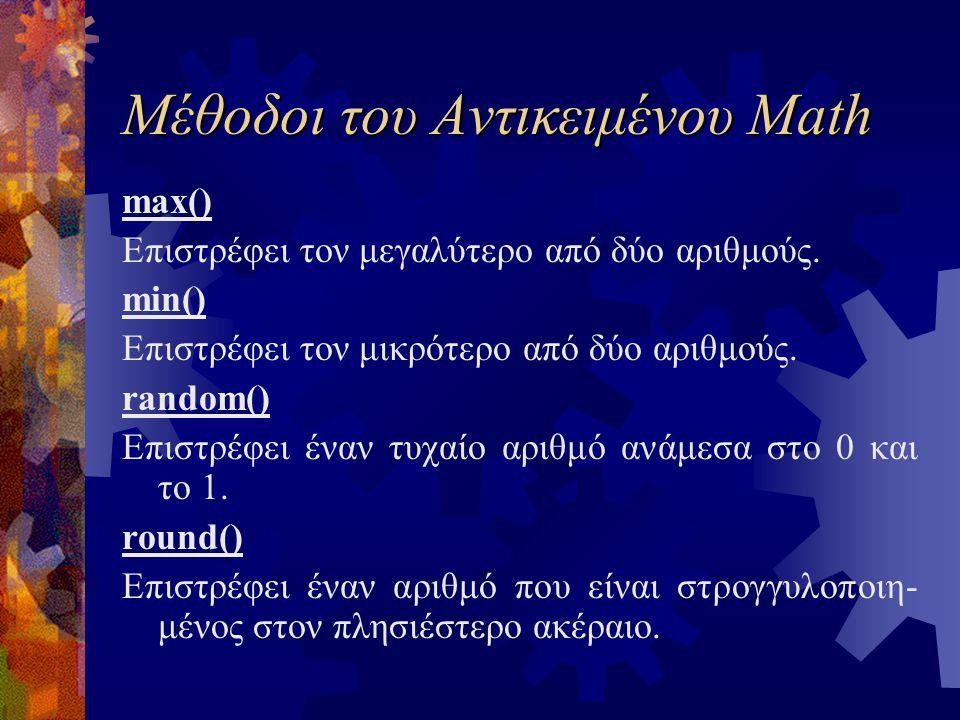 Μέθοδοι του Αντικειμένου Math max() Επιστρέφει τον μεγαλύτερο από δύο αριθμούς. min() Επιστρέφει τον μικρότερο από δύο αριθμούς. random() Επιστρέφει έ