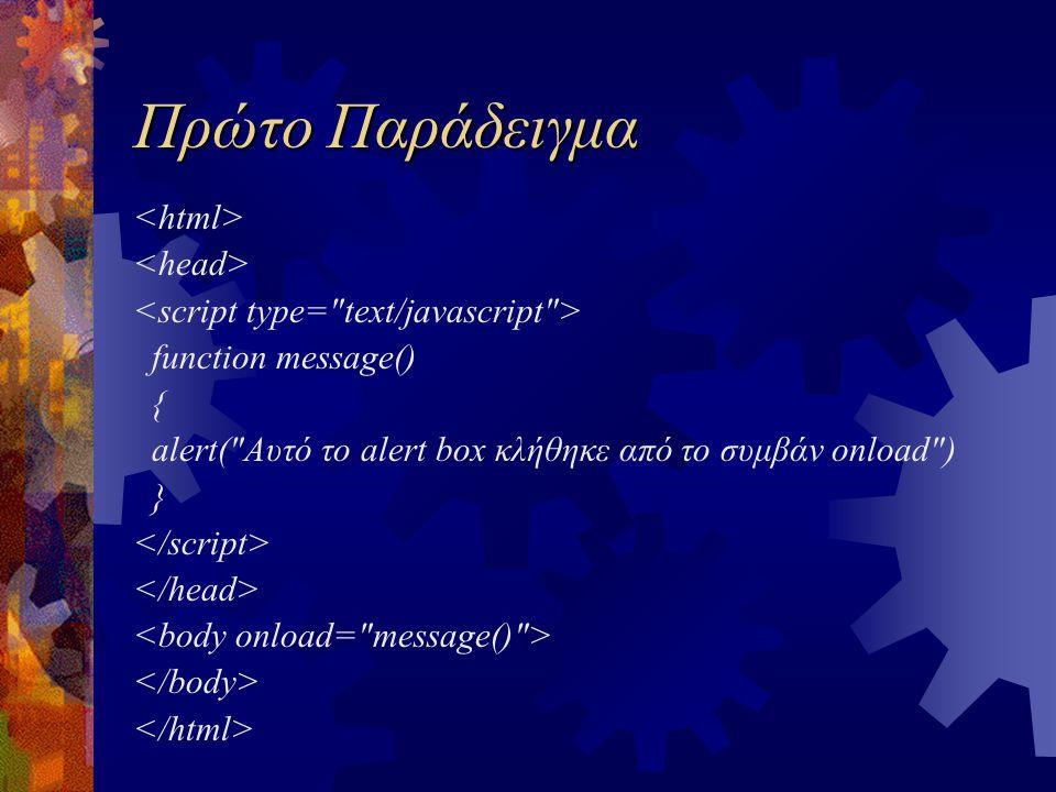 Πρώτο Παράδειγμα function message() { alert(
