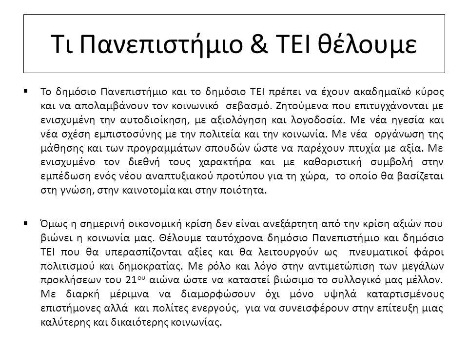 Τι Πανεπιστήμιο & ΤΕΙ θέλουμε  Το δημόσιο Πανεπιστήμιο και το δημόσιο ΤΕΙ πρέπει να έχουν ακαδημαϊκό κύρος και να απολαμβάνουν τον κοινωνικό σεβασμό.
