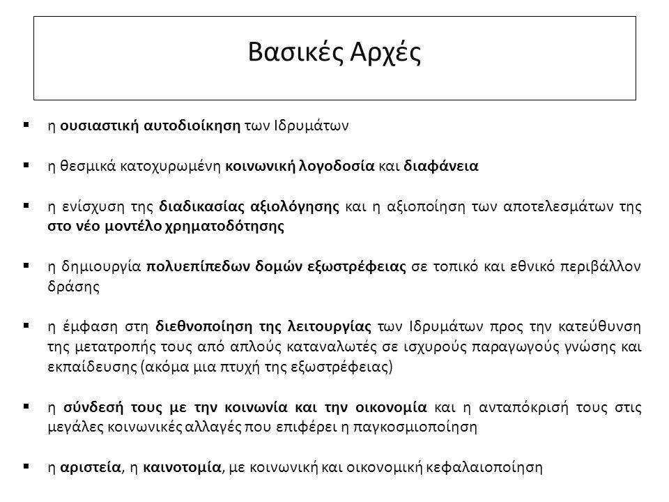 Βασικές Αρχές  η ουσιαστική αυτοδιοίκηση των Ιδρυμάτων  η θεσμικά κατοχυρωμένη κοινωνική λογοδοσία και διαφάνεια  η ενίσχυση της διαδικασίας αξιολόγησης και η αξιοποίηση των αποτελεσμάτων της στο νέο μοντέλο χρηματοδότησης  η δημιουργία πολυεπίπεδων δομών εξωστρέφειας σε τοπικό και εθνικό περιβάλλον δράσης  η έμφαση στη διεθνοποίηση της λειτουργίας των Ιδρυμάτων προς την κατεύθυνση της μετατροπής τους από απλούς καταναλωτές σε ισχυρούς παραγωγούς γνώσης και εκπαίδευσης (ακόμα μια πτυχή της εξωστρέφειας)  η σύνδεσή τους με την κοινωνία και την οικονομία και η ανταπόκρισή τους στις μεγάλες κοινωνικές αλλαγές που επιφέρει η παγκοσμιοποίηση  η αριστεία, η καινοτομία, με κοινωνική και οικονομική κεφαλαιοποίηση