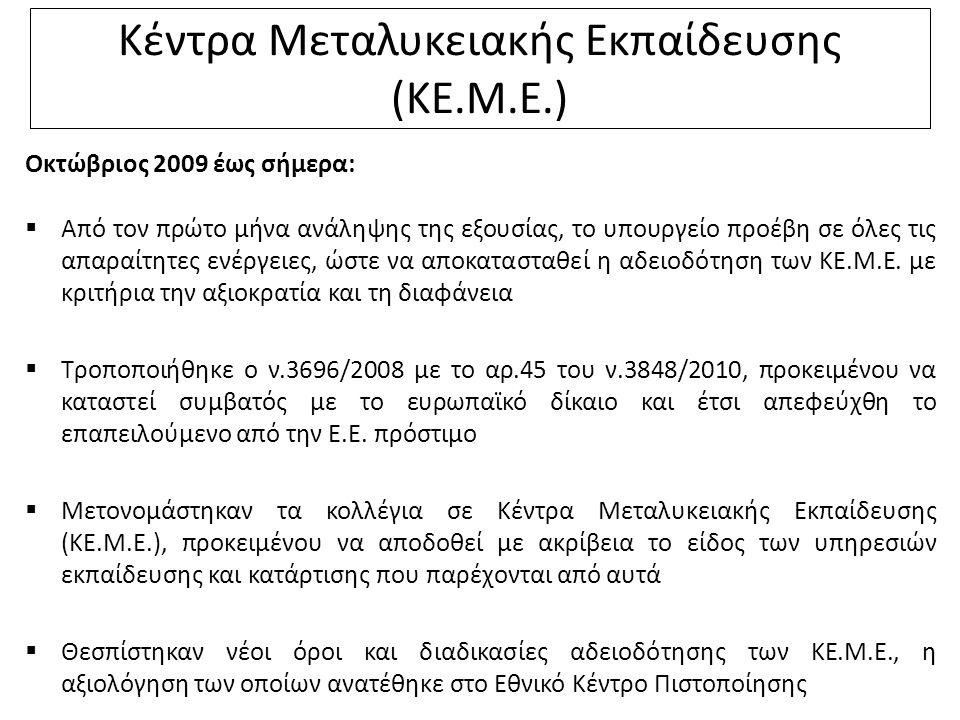 Κέντρα Μεταλυκειακής Εκπαίδευσης (ΚΕ.Μ.Ε.) Οκτώβριος 2009 έως σήμερα:  Από τον πρώτο μήνα ανάληψης της εξουσίας, το υπουργείο προέβη σε όλες τις απαραίτητες ενέργειες, ώστε να αποκατασταθεί η αδειοδότηση των ΚΕ.Μ.Ε.