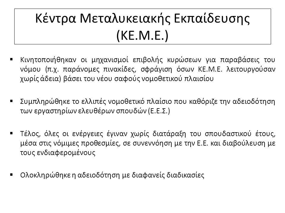 Κέντρα Μεταλυκειακής Εκπαίδευσης (ΚΕ.Μ.Ε.)  Κινητοποιήθηκαν οι μηχανισμοί επιβολής κυρώσεων για παραβάσεις του νόμου (π.χ. παράνομες πινακίδες, σφράγ