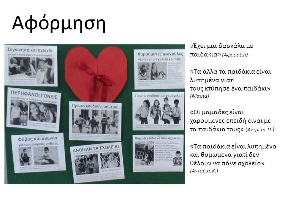«Έχει μια δασκάλα με παιδάκια» (Αφροδίτη) «Τα άλλα τα παιδάκια είναι λυπημένα γιατί τους κτύπησε ένα παιδάκι» (Μαρία) «Οι μαμάδες είναι χαρούμενες επειδή είναι με τα παιδάκια τους» (Αντρέας Π.) «Τα παιδάκια είναι λυπημένα και θυμωμένα γιατί δεν θέλουν να πάνε σχολείο» (Αντρέας Κ.) Αφόρμηση