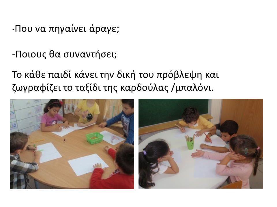 - Που να πηγαίνει άραγε; -Ποιους θα συναντήσει; Το κάθε παιδί κάνει την δική του πρόβλεψη και ζωγραφίζει το ταξίδι της καρδούλας /μπαλόνι.