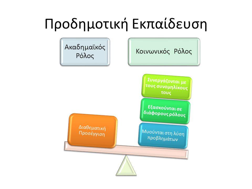 Προδημοτική Εκπαίδευση Ακαδημαϊκός Ρόλος Κοινωνικός Ρόλος Μυούνται στη λύση προβλημάτων Εξασκούνται σε διάφορους ρόλους Συνεργάζονται με τους συνομηλίκους τους Διαθεματική Προσέγγιση