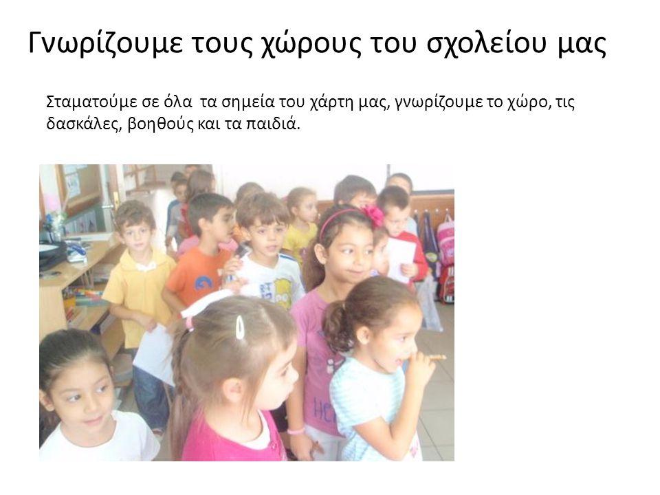 Σταματούμε σε όλα τα σημεία του χάρτη μας, γνωρίζουμε το χώρο, τις δασκάλες, βοηθούς και τα παιδιά.