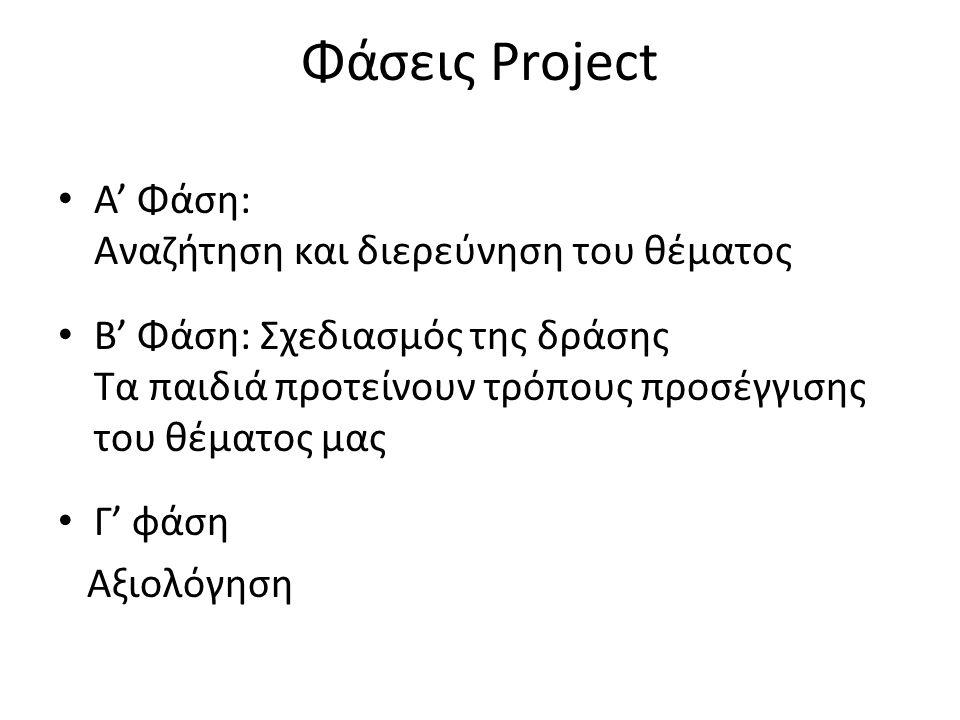 Φάσεις Project • Α' Φάση: Αναζήτηση και διερεύνηση του θέματος • Β' Φάση: Σχεδιασμός της δράσης Τα παιδιά προτείνουν τρόπους προσέγγισης του θέματος μας • Γ' φάση Αξιολόγηση