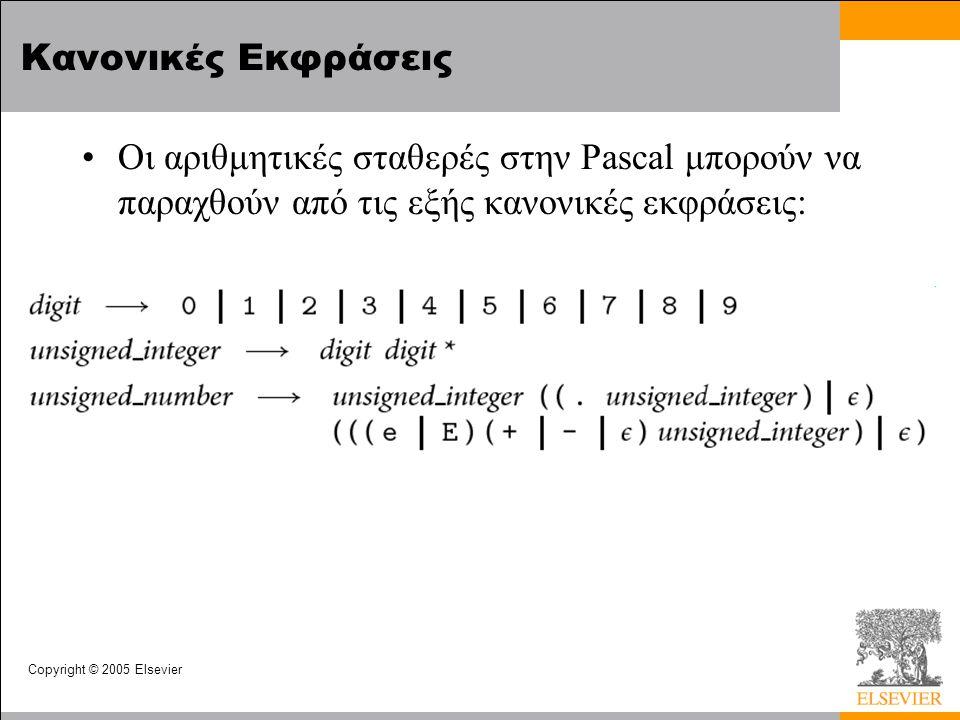 Copyright © 2005 Elsevier Κανονικές Εκφράσεις •Οι αριθμητικές σταθερές στην Pascal μπορούν να παραχθούν από τις εξής κανονικές εκφράσεις:
