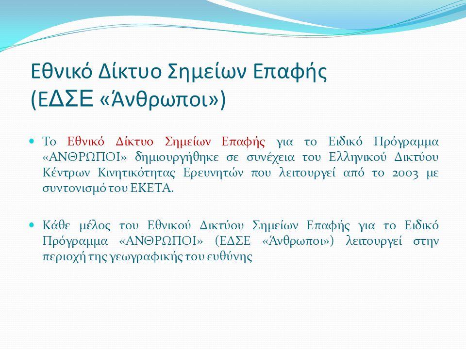 Εθνικό Δίκτυο Σημείων Επαφής (Ε ΔΣΕ «Άνθρωποι»)  Το Εθνικό Δίκτυο Σημείων Επαφής για το Ειδικό Πρόγραμμα «ΑΝΘΡΩΠΟΙ» δημιουργήθηκε σε συνέχεια του Ελληνικού Δικτύου Κέντρων Κινητικότητας Ερευνητών που λειτουργεί από το 2003 με συντονισμό του ΕΚΕΤΑ.