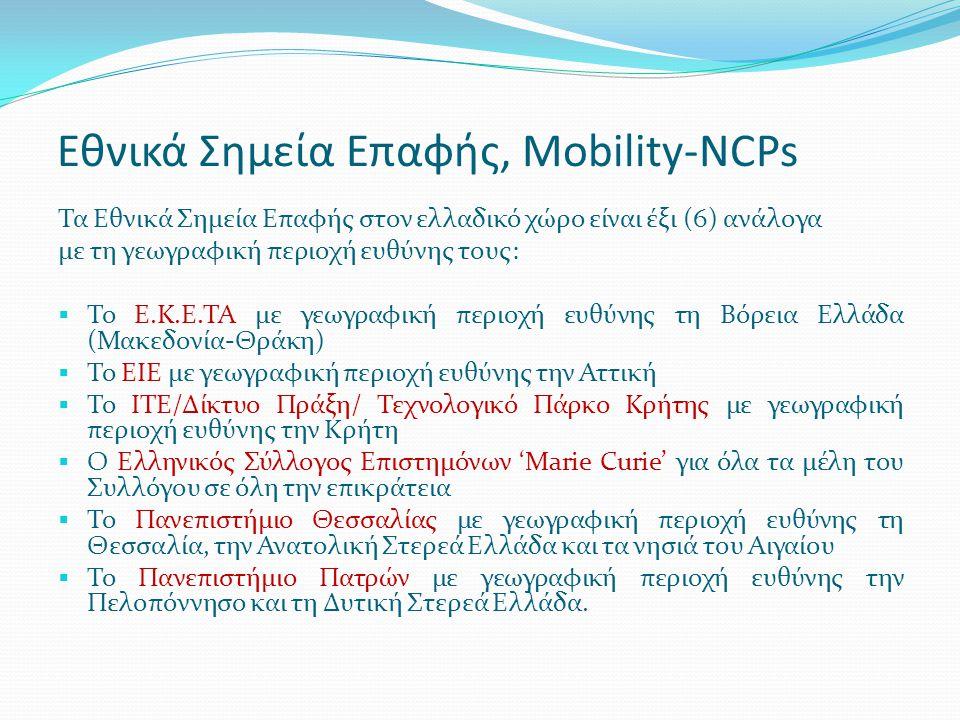 Εθνικά Σημεία Επαφής, Mobility-NCPs Τα Εθνικά Σημεία Επαφής στον ελλαδικό χώρο είναι έξι (6) ανάλογα με τη γεωγραφική περιοχή ευθύνης τους:  Το Ε.Κ.Ε.ΤΑ με γεωγραφική περιοχή ευθύνης τη Βόρεια Ελλάδα (Μακεδονία-Θράκη)  Το ΕΙΕ με γεωγραφική περιοχή ευθύνης την Αττική  Το ΙΤΕ/Δίκτυο Πράξη/ Τεχνολογικό Πάρκο Κρήτης με γεωγραφική περιοχή ευθύνης την Κρήτη  Ο Ελληνικός Σύλλογος Επιστημόνων 'Marie Curie' για όλα τα μέλη του Συλλόγου σε όλη την επικράτεια  Το Πανεπιστήμιο Θεσσαλίας με γεωγραφική περιοχή ευθύνης τη Θεσσαλία, την Ανατολική Στερεά Ελλάδα και τα νησιά του Αιγαίου  Το Πανεπιστήμιο Πατρών με γεωγραφική περιοχή ευθύνης την Πελοπόννησο και τη Δυτική Στερεά Ελλάδα.