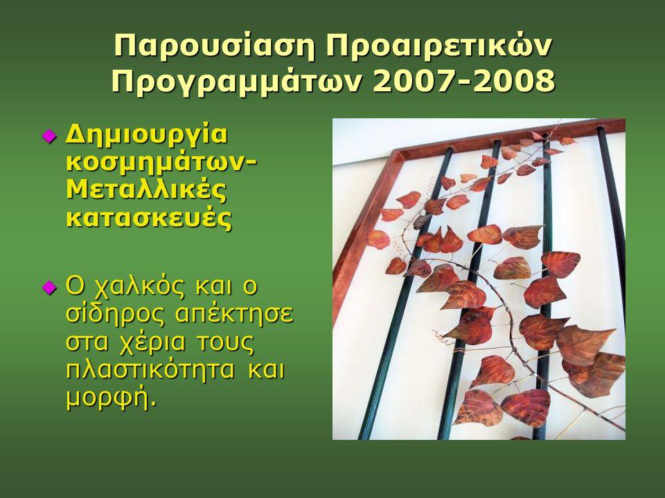 Παρουσίαση Προαιρετικών Προγραμμάτων 2007-2008  Δημιουργία κοσμημάτων- Μεταλλικές κατασκευές  Ο χαλκός και ο σίδηρος απέκτησε στα χέρια τους πλαστικ