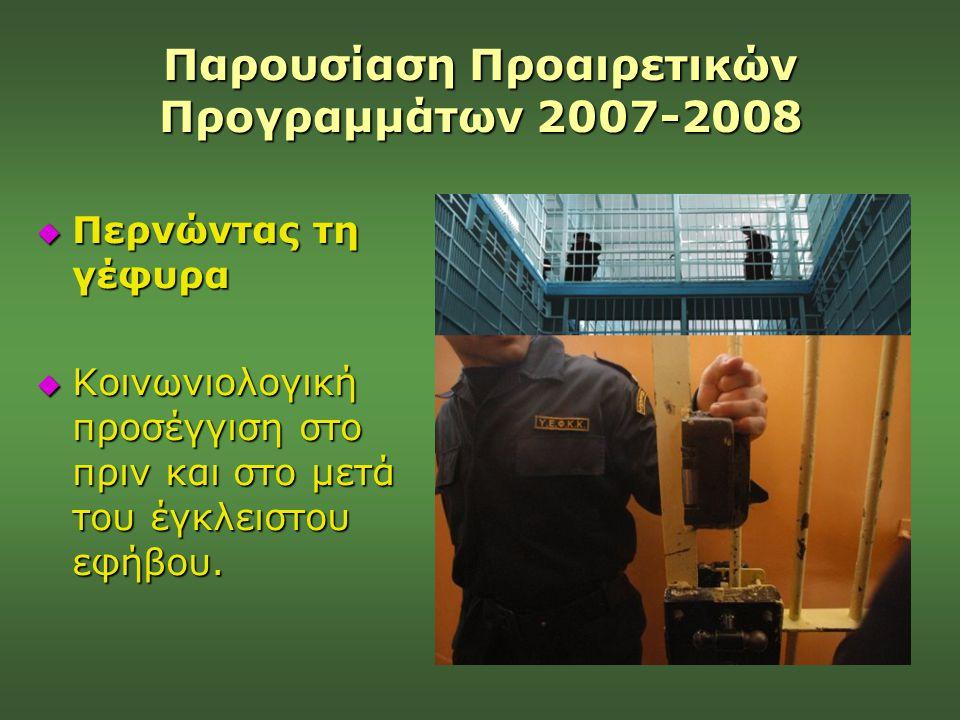 Παρουσίαση Προαιρετικών Προγραμμάτων 2007-2008  Περνώντας τη γέφυρα  Κοινωνιολογική προσέγγιση στο πριν και στο μετά του έγκλειστου εφήβου.