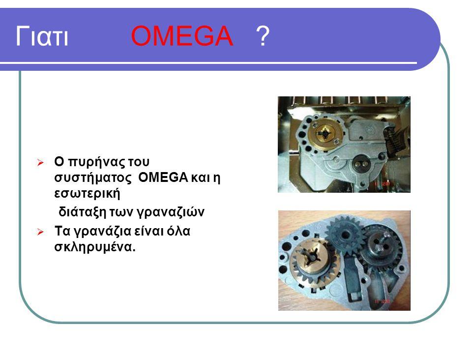 Ο πυρήνας του συστήματος OMEGA και η εσωτερική διάταξη των γραναζιών  Τα γρανάζια είναι όλα σκληρυμένα.